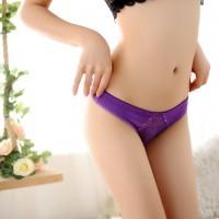 低腰舒適性感誘惑女士內褲透視鑽飾丁字褲 情趣三角褲T褲