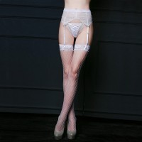 Thin section high waist garter suit sexy white