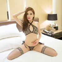 Leopard wild halter bikini uniform temptation