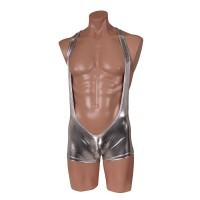 Impacted iron plate suspender boxer shorts silver