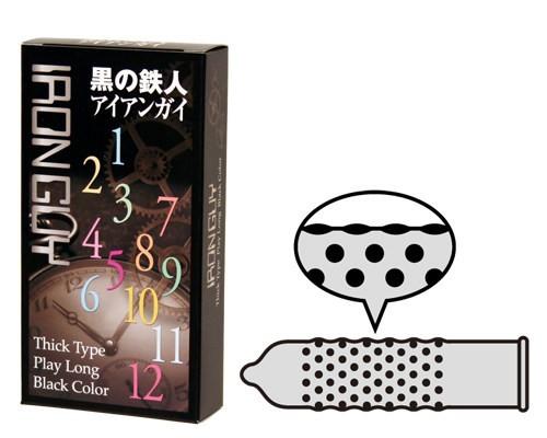 日本Japan Medical黑之鐵人 持久激凸點安全套 (12片)