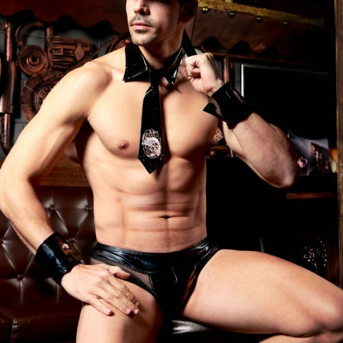 男款情趣制服性感黑色仿漆皮警察裝