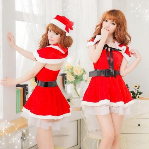 萬聖節服裝新款聖誕服耶誕節分體套裝披肩聖誕服